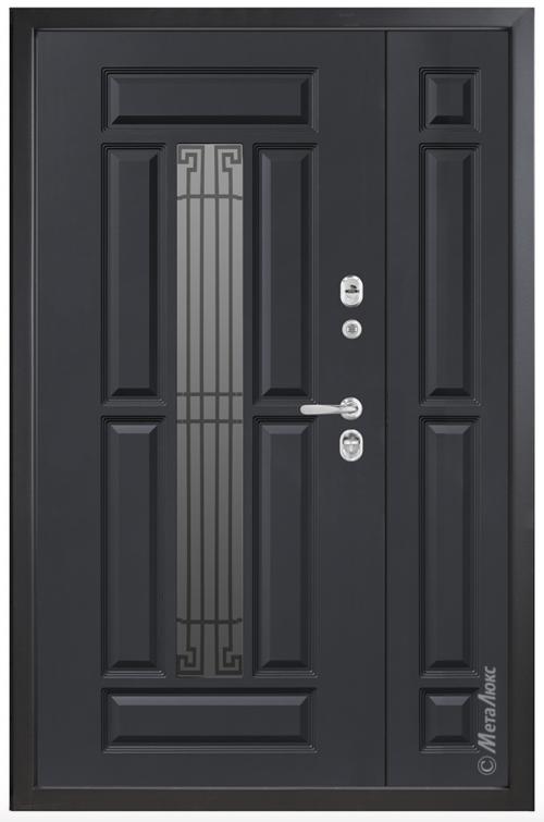 Nestandarta metāla durvis mājai ar stiklu