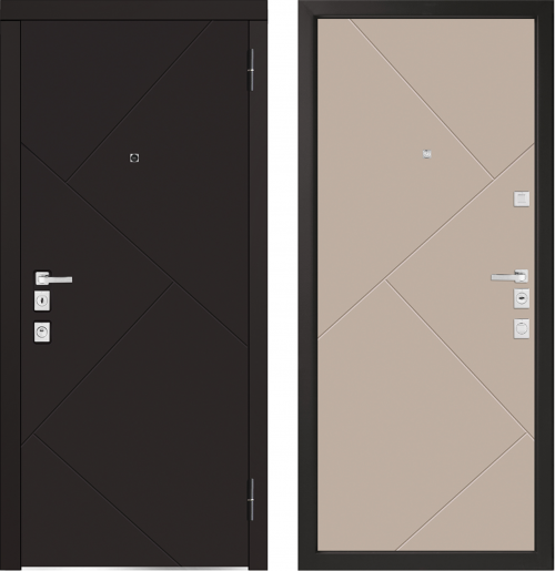 Metāla durvis dzīvoklim ar Square Design furnitūru