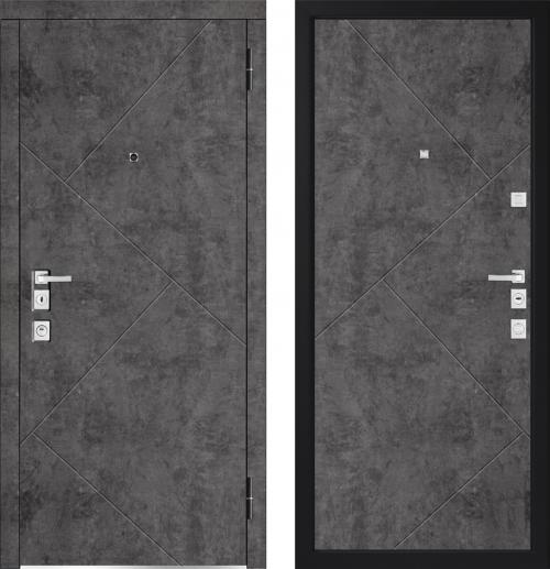 Metāla durvis dzīvoklim High Tech stilā ar Betona apdari