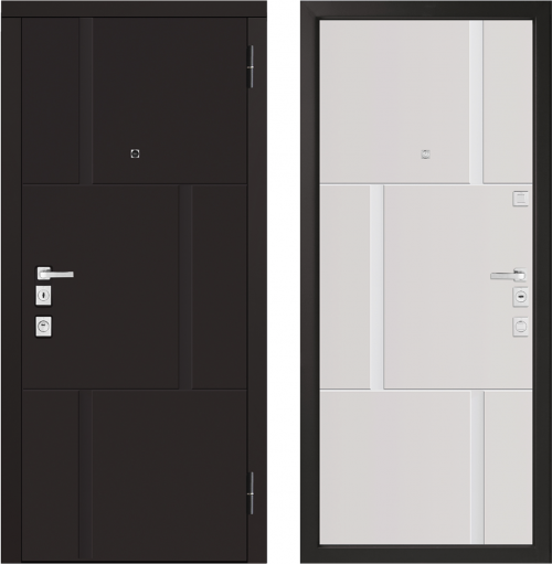 Metāla durvis M1103/1E ar stilizētu koka apdari.