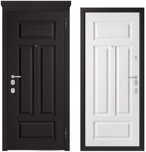 Metāla durvis ar skaistu koka apdari.